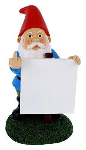 Gnometastic Mittelfinger-Zwerg mit anpassbarem Protest-Schild, 22,9 cm – lustiger Haftnotizhalter und Gartenzwerg für drinnen und draußen