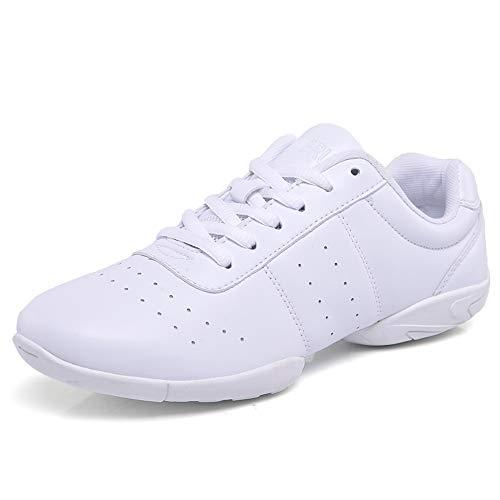 DADAWEN Damen Cheer Schuhe Mädchen Sneaker Outdoor Fitness Gymnastik Training Jazz Yoga Tanzschuhe, Weiß, 37 EU
