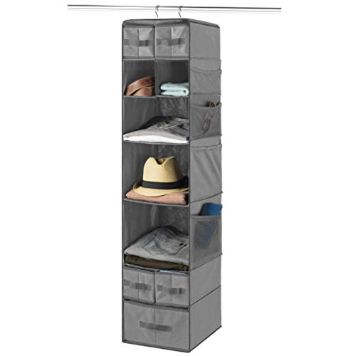 9 Shelf Hanging Closet Organizer with 5 Drawer Organizers, Baby Nursery Closet, Diaper Caddy Organizer, Slotted Storage Baskets, Hanging Drawers, Dorm Room Closet with Foldable Cube Storage Bins
