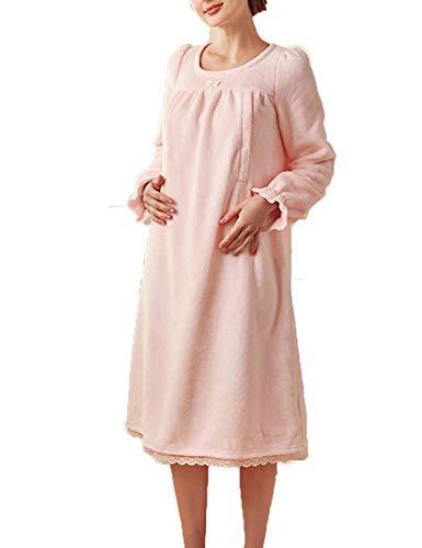 LFNIU Pijamas de lactancia para mujeres embarazadas engrosamiento de otoño e invierno para mujeres más terciopelo posparto camisón de enfermería de talla grande servicio a domicilio para madres