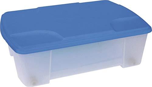 Boîte à roulettes transparente avec couvercle bleu.