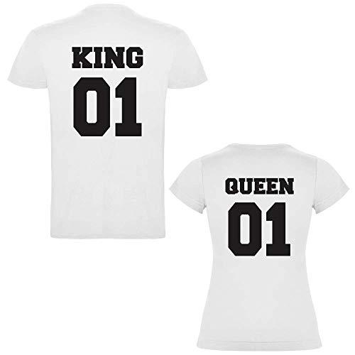 Pack de 2 Camisetas Blancas para Parejas, King 01 y Queen 01 Bold Negro (Mujer Tamaño S + Hombre Tamaño M)