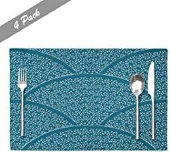 Ogden Moll Dunkelblaue Zick-Zack-Tisch-Tischsets,Hitzebeständige Tischsets Asiatisch-Japanisches Muster Wave Navy Farm-Tischsets,4 Stück Set