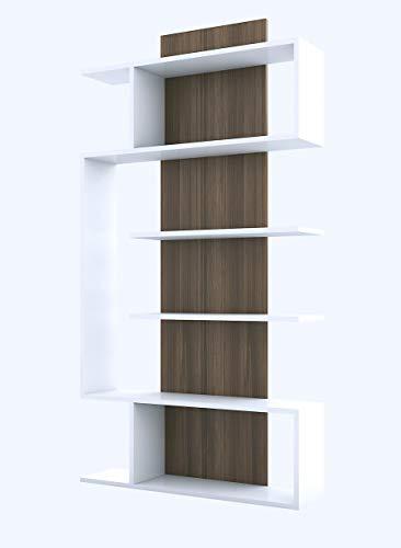 Homemania Libreria Joke, Legno, Bianco-Noce, 90 x 22 x 172 cm