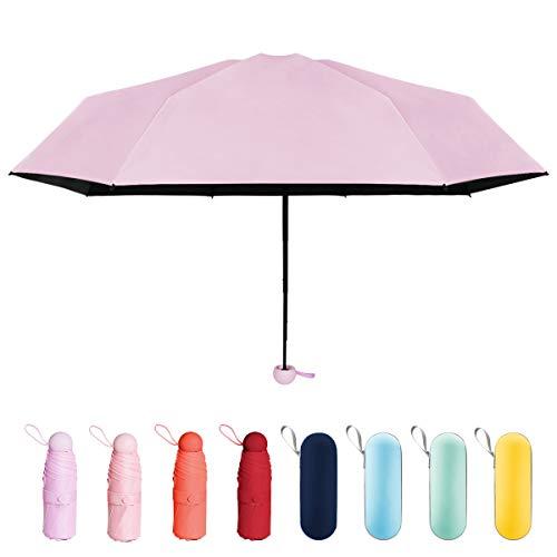 折り畳み傘 日傘 uvカット 晴雨兼用 超軽量 超撥水 超小型 携帯しやすい 遮光遮熱 耐強風 梅雨対策 ジッパーケース付き レディース (パープル)
