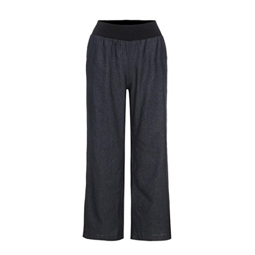 Hosen Damen Kolylong® Frauen Elegant Denim Weite Hosen Hohe Taille Elastische Jeanshose Loose Beiläufig Lang Hosen Sport Yoga Hosen Leggings (M, Schwarz)