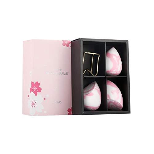 Drametree Sakura Powder Deux couleurs BB Puff Beauty Coffret Oeufs Maquillage Puff humide et sec Maquillage Œuf Maquillage Puff Oeufs en éponge Spuff Puff ne mange pas de poudre (3 Obtenez 1 plateau à