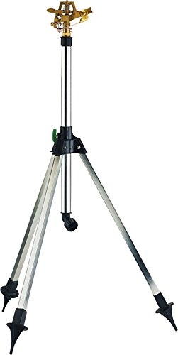 Rocky Mountain Goods Tripod Lawn Sprinkler with Pulsating Brass Sprinkler Head - Telescoping...