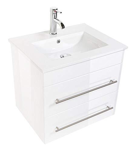 Posseik Badmöbelset Waschtisch Apollo Weiß Hochglanz