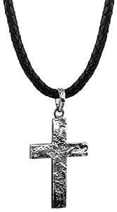 Kuzzoi Männer Lederhalskette mit Kreuz Anhänger aus massiven 925 Sterling Silber, Kette aus geflochtenem Rinderleder in schwarz, Dicke 5,5mm, markante Exklusive Herren Ketten mit Anhänger ZOI-001-55