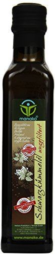 manako Schwarzkümmelöl human, ungefiltert, naturbelassen, kaltgepresst, 100% rein, 250 ml Glasflasche (1 x 0,25 l)