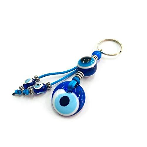 Schlüsselanhänger Nazar Boncuk Anahtarlık mit Glasperlen Handgemacht Böser Blick Glücksbringer Talisman Türkisches Blaues Auge, Evil Eyes (Model - 14)