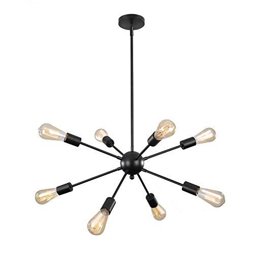 ENCOFT Sputnik Hängelampe Schwarz Modern Pendelleuchte Hängelampe E27 Lampenfassung Metall für Esszimmer Zimmer Wohnzimmer Küche Restaurant (8 Lampe)
