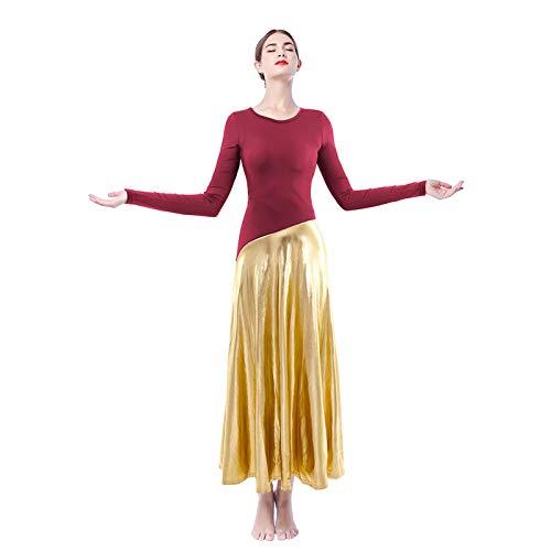 hellomiko Mujer Litúrgico Alabanza Vestido de Baile, Suelto Longitud Completa Metálico Empalme Manga Larga Adoración Ropa de Baile Iglesia Praisewear