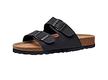 CUSHIONAIRE Women s Lane Slide Sandals Black 7.5 M