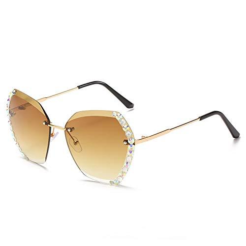 QINGZHOU Gafas de Sol,Gafas de sol sin montura de moda Lente Gafas de sol poligonales con incrustaciones de diamantes Personalidad femenina Gafas de color degradado de película oceánica, té degradado