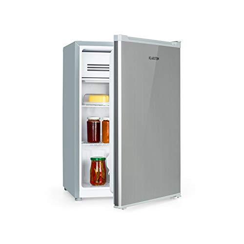 Klarstein Delaware nevera - 76 litros de capacidad, eficiencie energética de clase E, 2 baldas, congelador de 4 litros, compartimento para botellas de hasta 2 litros, plateado/gris
