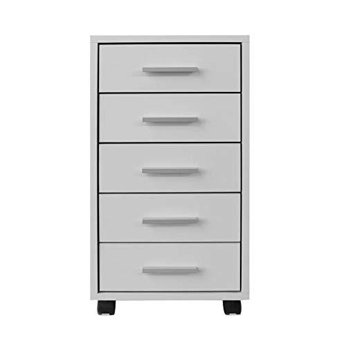 EBTOOLS - Cajonera de oficina blanca con ruedas, cajonera para escritorio, mesita de noche con 5 cajones + mango de aluminio para oficina y casa, de madera MDF, 33 x 38 x 63 cm