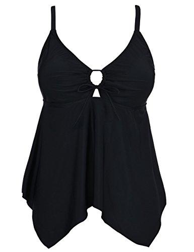 Mycoco Women's Tummy Control Front Tie Swim Top Cross Back Tankini Top Flowy Swimdress Black 26
