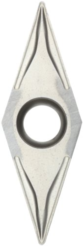 "Sandvik Coromant CoroTurn 107 Carbide Turning Insert, VBMT, 35 Degree Diamond, KF Chipbreaker, H13A Grade, Uncoated, VBMT 220-KF, 1/4"" iC, 0.008"" Corner Radius (Pack of 10)"
