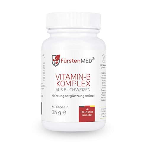 FürstenMED® Natürlicher Vitamin B Komplex aus Buchweizen - Rein pflanzliche Vitamin B Quelle - 60 Kapseln aus Deutschland Vegan und ohne Zusatzstoffe