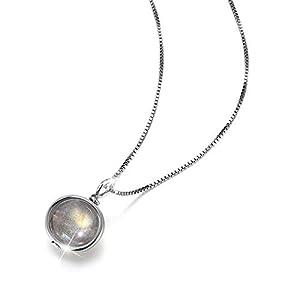 Springlight Mondstein Kette Silber 925 mit Anhänger Mondstein Anhänger Halskette Kettenlänge 39.5cm+5cm, Kette Mondstein Damen Blauer Stein Labradorit Anhänger Amulett Chakra Kette.