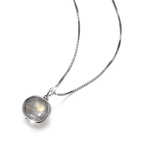 Lotus Fun S925 - Collana in argento Sterling con pietra di luna, lunghezza 39,5 cm + 5 cm, con catena allungata, creativa, popolare e popolare artigianale, per donne