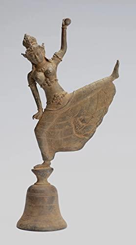 Parvati Estatua – Campana de bronce Javanés Parvati de estilo indonesio, 24 cm