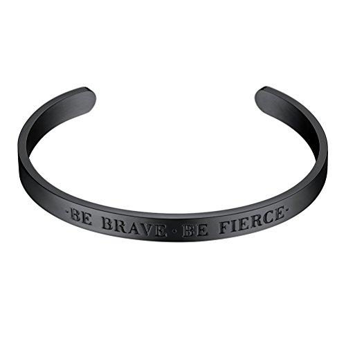 PROSTEEL Open Cuff Bangle Be Brave Fashion Women Female Inspirational Jewelry Metal Black Bracelet