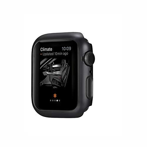 Funda para Apple Watch Series 4 40mm 44mm 2 en 1 Parachoques Cubierta del Caso Anti-Choque Ligero Protector de Pantalla Protectora Carcasa para iWatch Series 4 (Negro, 44MM)