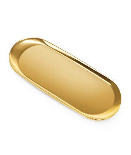 ANZOME Goldenes Tablett Ornamente Teller zum Servieren von Kuchen, Keksen, Getränken, Handtuch, dekorativer Schreibtischbedarf, Organizer, Stahl (Gold, 30 cm (1 Stück)
