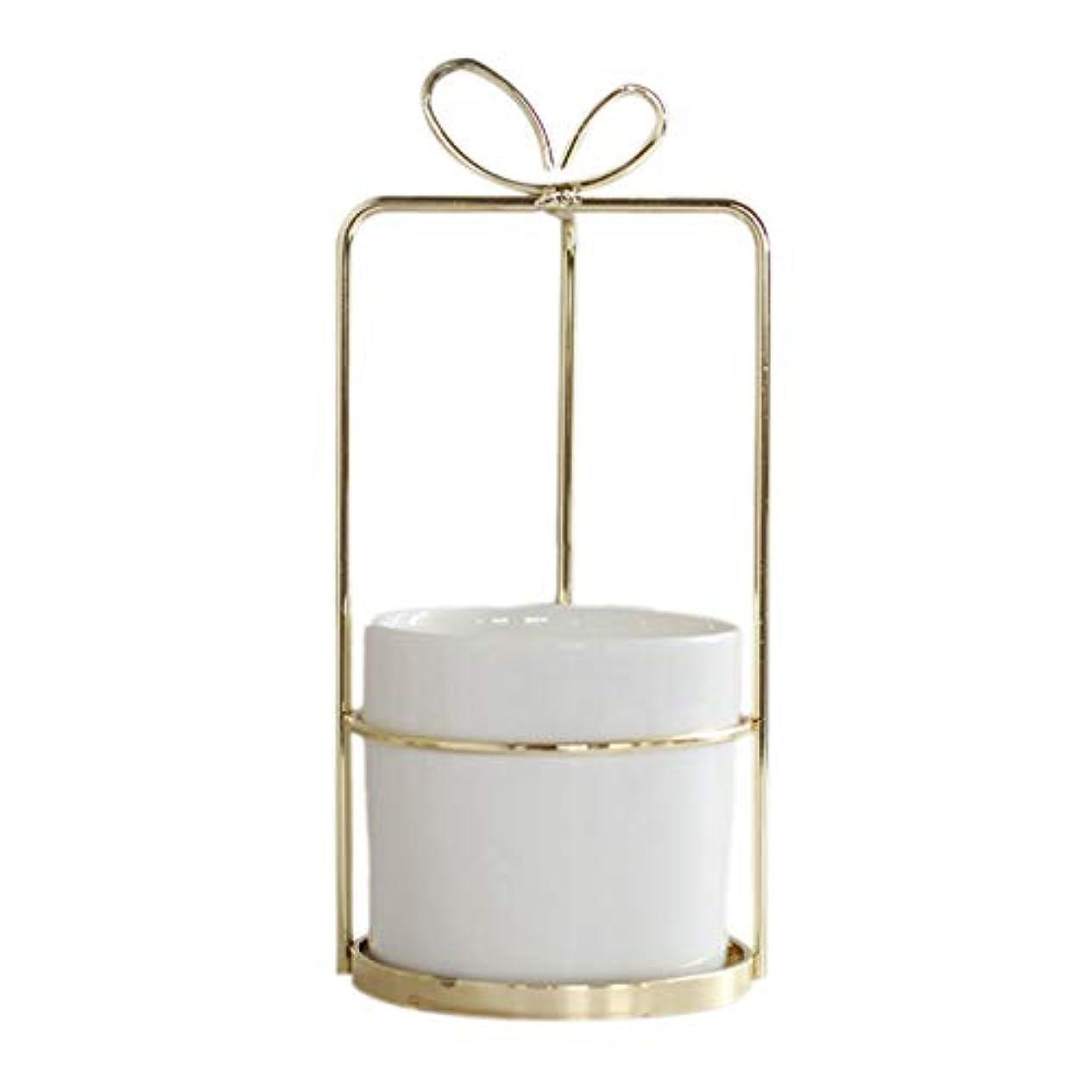 北方政府クルーズXigeapg 現代の非多孔質セラミック花瓶 ゴールドフレーム付き ホワイト磁器 家の装飾 植物植栽植木鉢 ホワイト+ゴールドセラミック+メタル スクエアフレーム