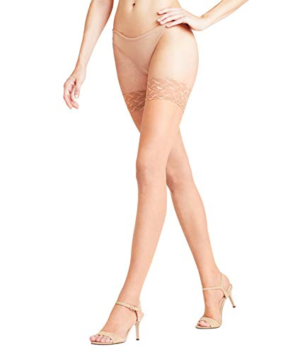 FALKE Damen Stay Ups Shelina 12 Denier Toeless - Ultra-Transparente, 1 Paar, Beige (Brasil 4679), Größe: L