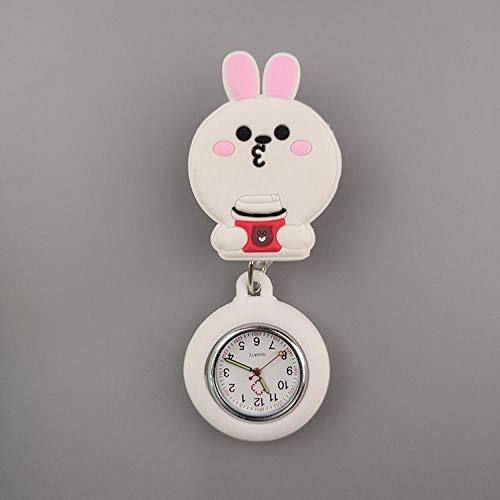 dihui Kitteluhr,Niedliche Taschenuhr Mode elektronische Uhr, Krankenschwester niedlichen Brustuhr-Connie Rabbit,Krankenschwestern Taschenuhr