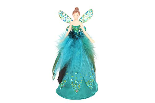Gisela Graham : Peacock Feather Treetop Fairy Decoration