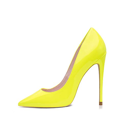 GENSHUO Stiletto Stiletto High Heels, 12CM/4.72IN Damen Pumps Spitz Party High Heels Sexy Basic Schuhe Damen Geschlossen Abendschuhe Lack/Wildleder ,Fluoreszierendes Gelb 38 EU(8 US)