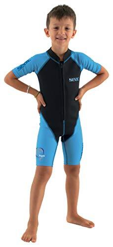 SEAC Dolphin Traje Corto para niños en Neopreno de 1.5 mm y Lycra para Nadar, Jugar en el Agua y Practicar Snorkel, Juventud Unisex niños, Azul/Negro, 9 años