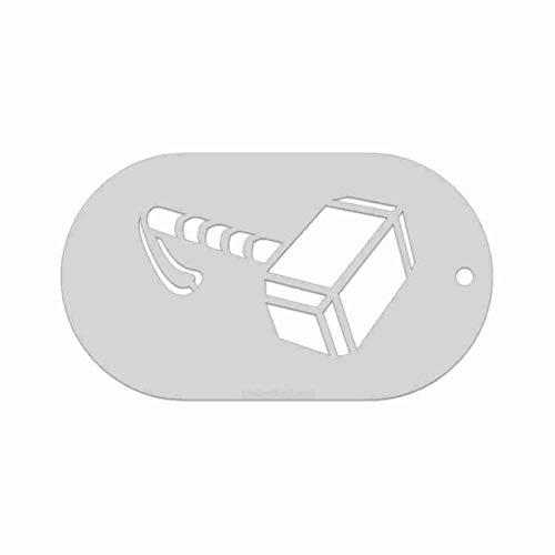 Stencil- Thor's Hammer, 2.25x1.3 Inch Image on 3.5x2 Border, Size 1