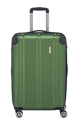 Travelite 4-Rad Koffer M mit TSA Schloss + Dehnfalte, Gepäck Serie CITY: Robuster Hartschalen Trolley mit kratzfester Oberfläche, 073048-80, 68 cm, 78 Liter (erweiterbar auf 86 L), grün