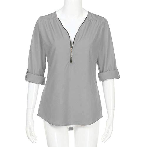 Lowprofile Women Roll-up 1/3 Zipper Solid Shirt Tunic Top O-Neck Pullover … Gray