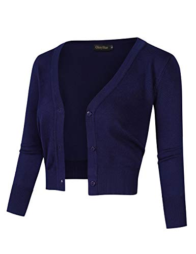 GloryStar Women's Casual 3/4 Sleeve Button Down Open Front Knit Cropped Cardigan Sweater Navy L