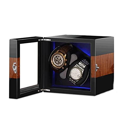 Cajas Giratorias para Relojes Abra La Tapa Y Pare Automáticamente 2 + 0 Devanadera De Microfibra Alimentado por Batería Y Adaptador De CA Fácil Acceso