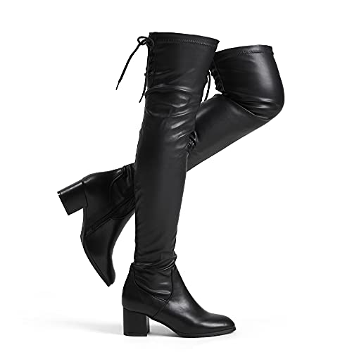 DREAM PAIRS Women's Laurence Black Pu Over The Knee Thigh High Chunky Heel Boots Size 6.5 M US