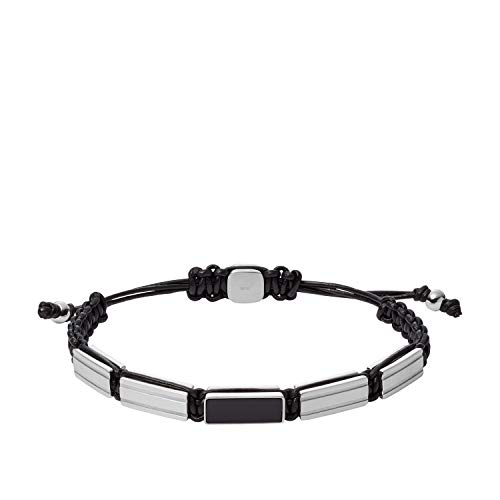 Fossil Herren Armband Stainless Steel Beaded Leather JF03172040