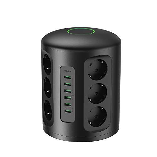 AUKEY Regleta de Enchufes Vertical, 6 puertos de carga USB y 12 tomas con cable de extensión pesado de 2 metros para smartphones, portátiles tablets y más dispositivos, 1500 julios