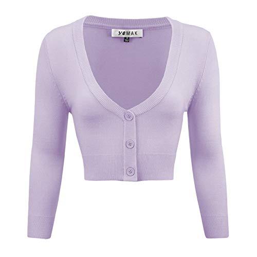 YEMAK Women's Cropped Bolero 3/4 Sleeve Button Down Cardigan Sweater CO129-LIL-L Lilac