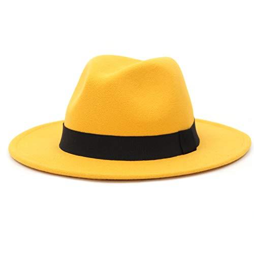Marryme - Sombrero para hombre, de fieltro, para mujer, diseño panamá amarillo Large