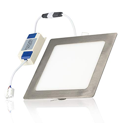 POPP®Placa niquel Downlight LED PRO(PACK x2) SuperSlim cuadrado plata empotrado Chip Osram CRI80 120º 3000K 4000K 6000K IP20 (6000K, 12 Watios)