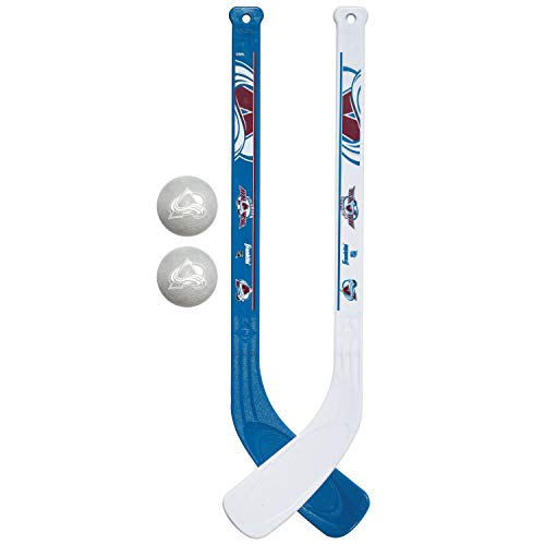 Franklin Sports NHL Colorado Avalanche Mini Hockey Stick Set - NHL Team Knee Hockey Stick and Ball Set - Two Player Stick Set - Great Toy for Kids