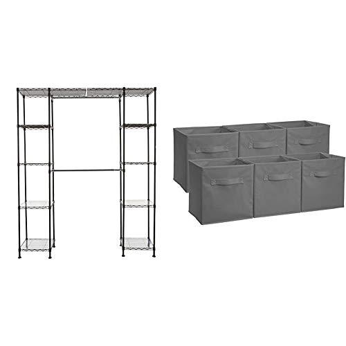 "AmazonBasics Expandable Metal Hanging Storage Organizer Rack Wardrobe with Shelves, 14""-63"" x 58""-72"", Bronze & Collapsible Fabric Storage Cubes Organizer with Handles, Gray - Pack of 6"